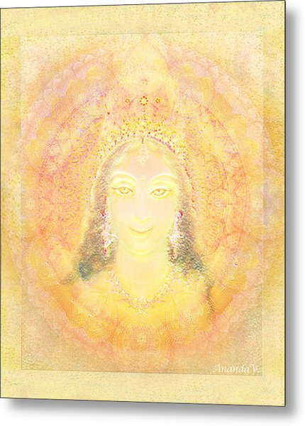 Vision Of A Goddess - A Being Of Light Metal Print by Ananda Vdovic
