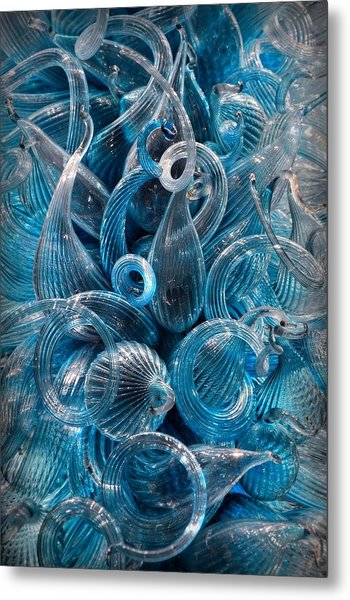 Vitreous Azure Abstract Metal Print