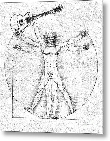 Vitruvian Guitar Man Bw Metal Print