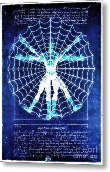 Vitruvian Spiderman White In The Sky Metal Print