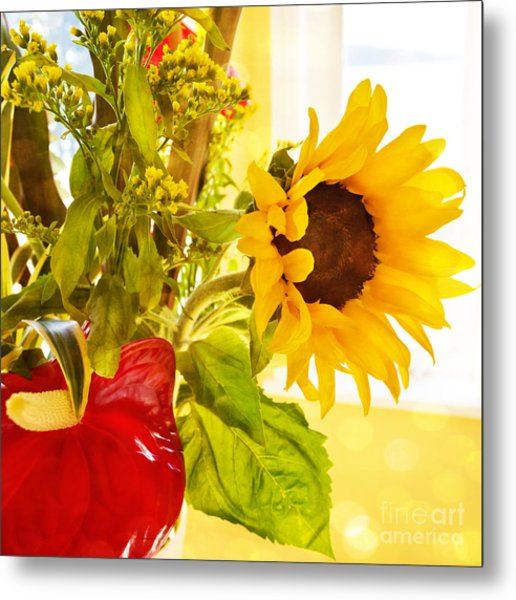 Vivid Cheery Sunflower Bouquet Metal Print