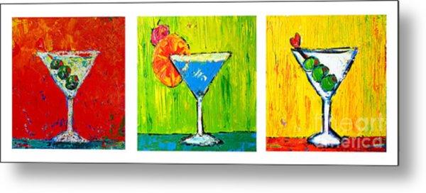 Vodka Martini Collection Bar Decor - Modern Art Metal Print