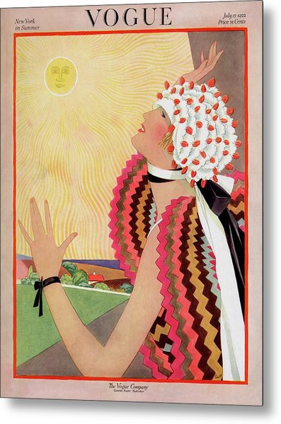 Vogue Cover Featuring A Woman Looking At The Sun Metal Print by George Wolfe Plank