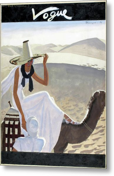 Vogue Cover Featuring A Woman Riding A Camel Metal Print
