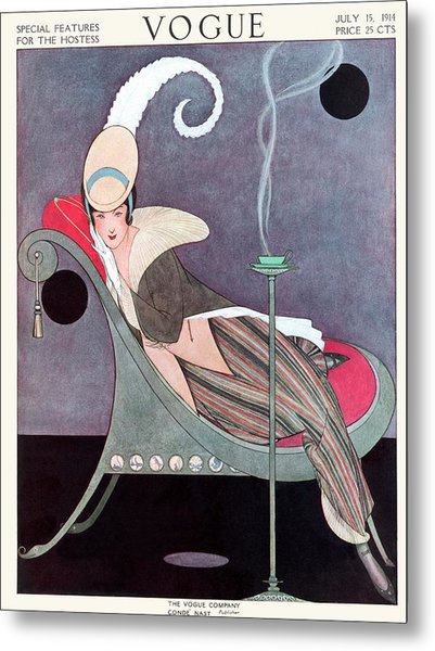 Vogue Cover Featuring A Woman Sitting In A Chair Metal Print by Helen Dryden