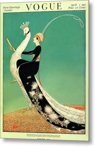 Vogue Cover Featuring A Woman Sitting On A Giant Metal Print by George Wolfe Plank