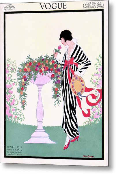 Vogue Cover Featuring A Woman Smelling A Rose Metal Print by Helen Dryden