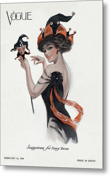 Vogue Cover Of Woman As Jester Metal Print