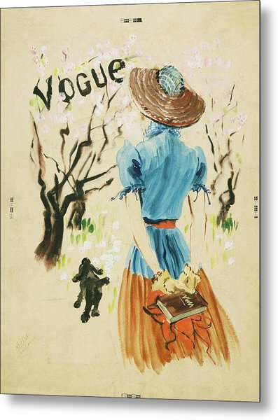 Vogue Cover Featuring Woman Walking Metal Print by Rene Bouet-Willaumez