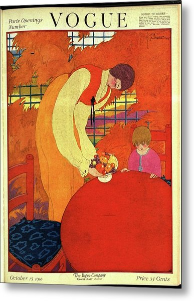 Vogue Cover Illustration Of A Mother And Son Metal Print by Georges Lepape