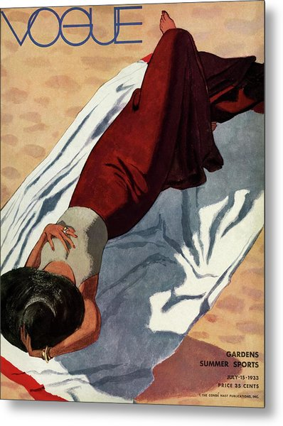 Vogue Cover Illustration Of A Woman Lying Metal Print