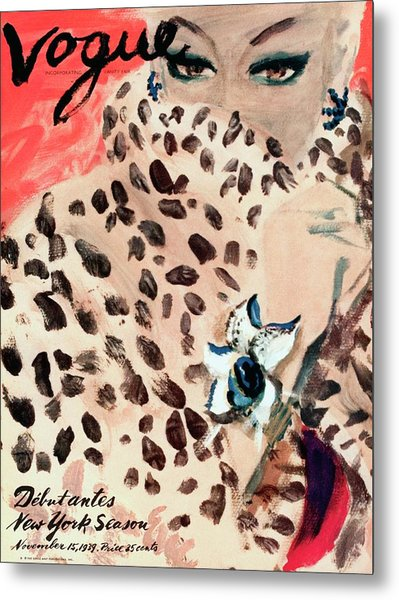 Vogue Cover Illustration Of A Woman Peering Metal Print
