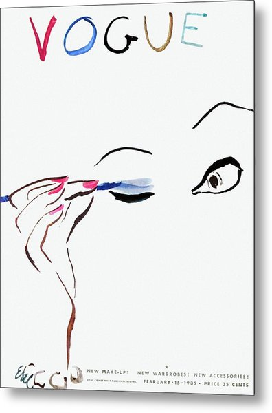 Vogue Cover Illustration Of A Woman Putting Metal Print