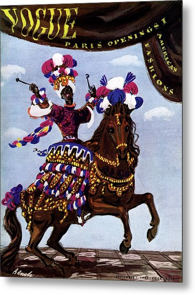 Vogue Cover Illustration Of A Woman Riding A Horse Metal Print