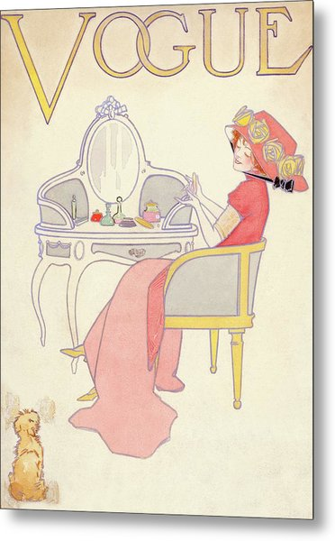 Vogue Cover Illustration Of A Woman Sitting Metal Print by Davis