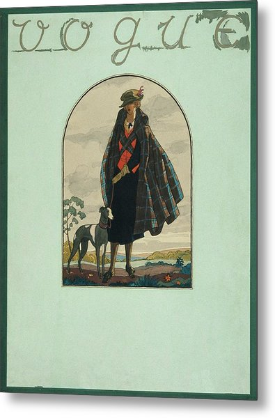 Vogue Cover Illustration Of A Woman Standing Metal Print by Leslie Saalburg