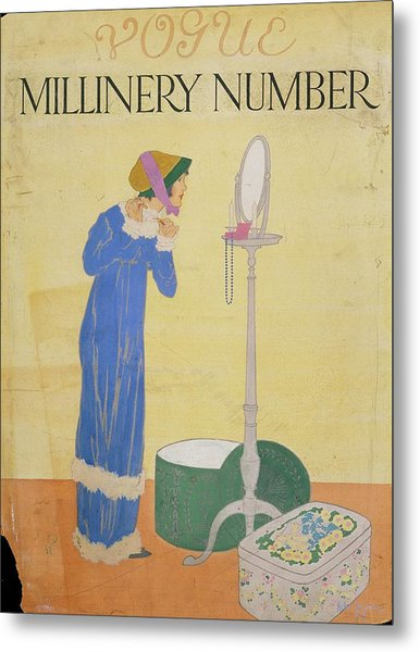 Vogue Cover Illustration Of A Woman Trying Metal Print by Helen Dryden