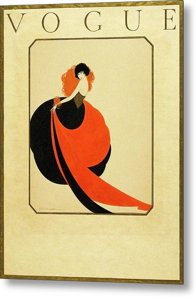Vogue Cover Illustration Of A Woman Wearing Metal Print by Reinaldo Luza