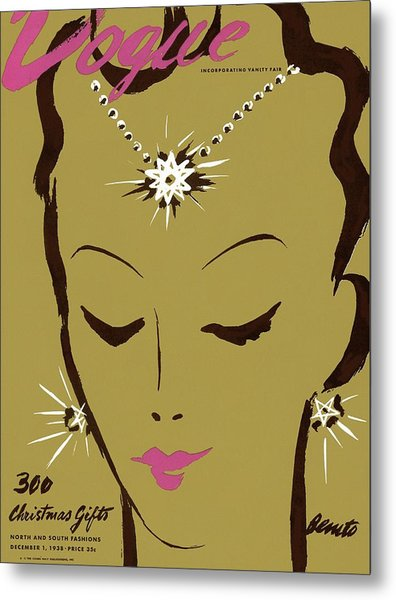 Vogue Cover Illustration Of A Woman Wearing Star Metal Print by Eduardo Garcia Benito