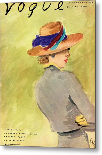 Vogue Cover Illustration Of A Woman Wearing Straw Metal Print by Carl Oscar August Erickson