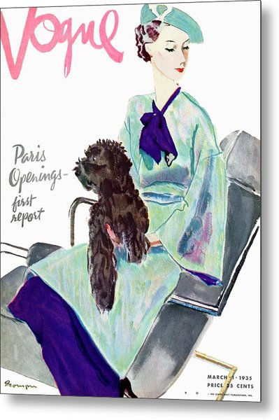 Vogue Cover Illustration Of A Woman With Dog Metal Print by Pierre Mourgue
