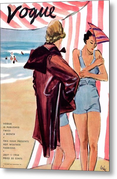 Vogue Cover Illustration Of Two Women At Beach Metal Print