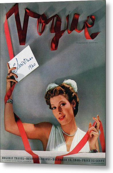 Vogue Cover Of Helen Bennett Wearing Tiffany & Metal Print by John Rawlings