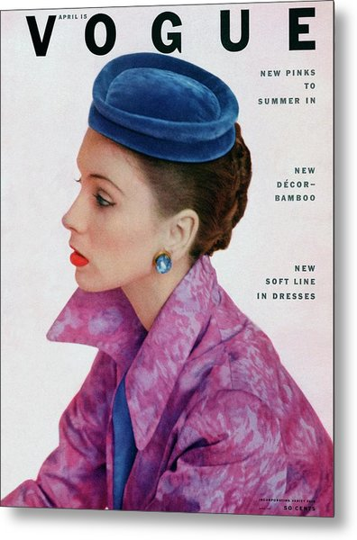 Vogue Cover Of Suzy Parker Metal Print by John Rawlings
