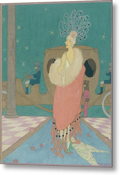 Vogue Illustration Of A Woman In A Pink Cape Metal Print by Helen Dryden
