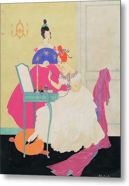 Vogue Illustration Of Two Women Around A Vanity Metal Print by Helen Dryden