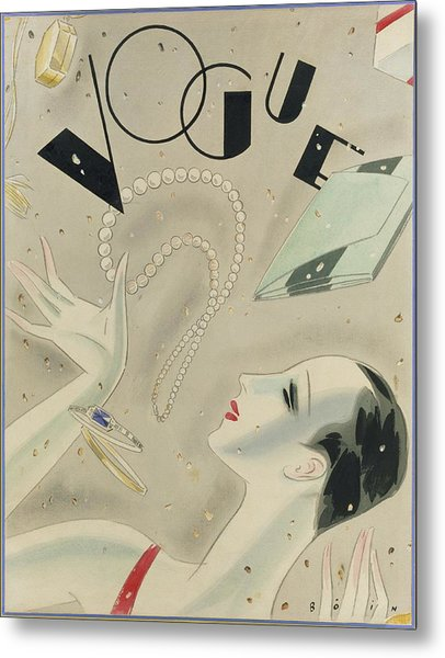 Vogue Magazine Cover Featuring A Woman Juggling Metal Print by William Bolin