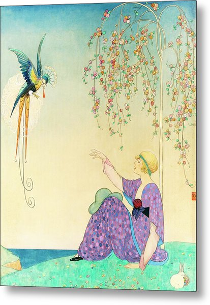 Vogue Magazine Illustration Of Woman Reaching Metal Print by George Wolfe Plank