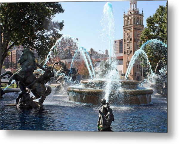 Jc Nichols Memorial Fountain In Blue Metal Print