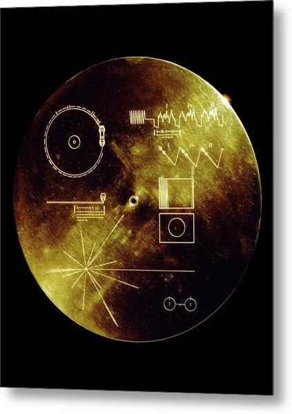 Voyager Spacecraft Plaque Metal Print by Nasa/science Photo Library