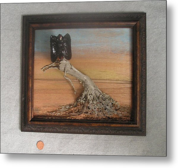 Vulture On Stump Metal Print