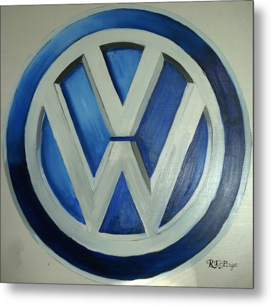 Vw Logo Blue Metal Print
