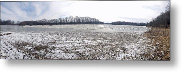 Wabash River Ice Jam Panorama Metal Print