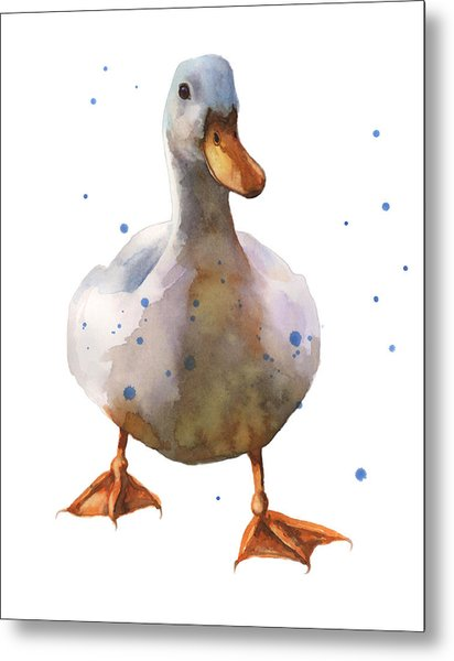Waddling White Duck Metal Print by Alison Fennell