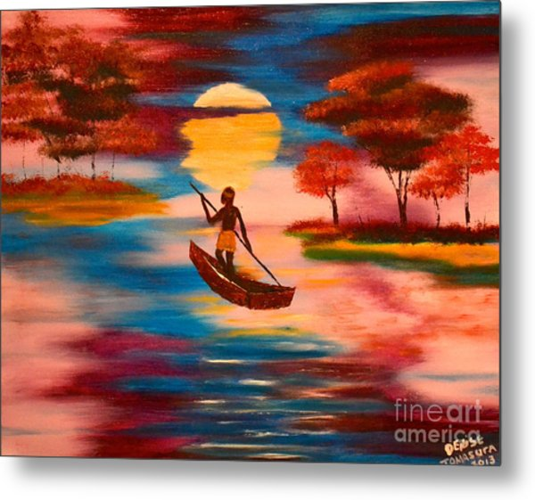 Wading For Magenta Metal Print