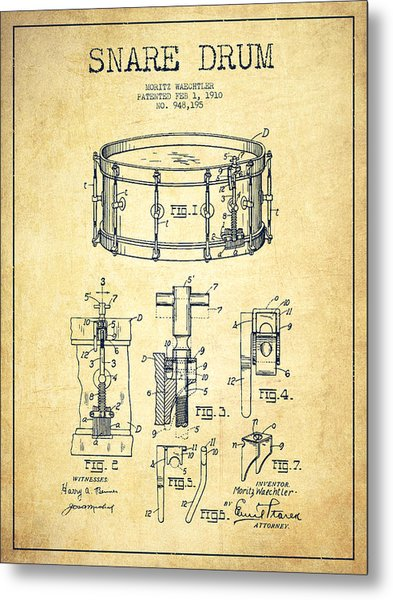 Waechtler Snare Drum Patent Drawing From 1910 - Vintage Metal Print