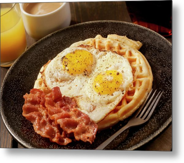Waffles With Fried Eggs And Bacon Metal Print by Lauripatterson