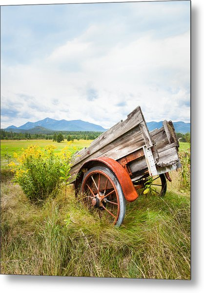 Wagon And Wildflowers - Vertical Composition Metal Print