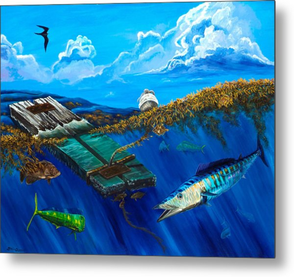 Metal Print featuring the painting Wahoo Under Board by Steve Ozment