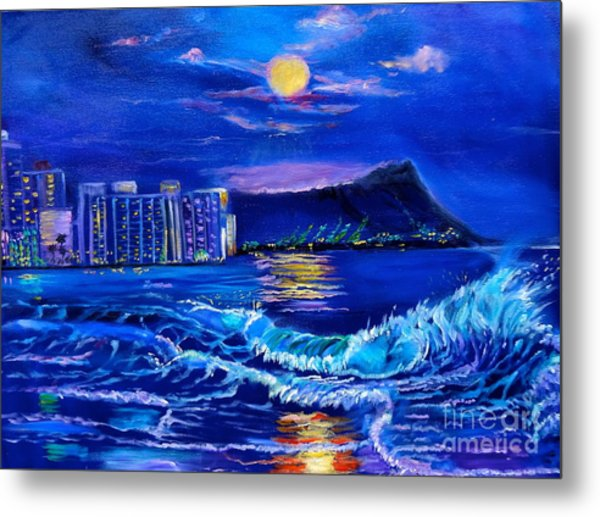 Waikiki Lights Metal Print