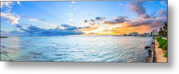 Waikiki Sunset After An Afternoon Thunderstorm Metal Print