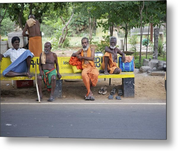 Waiting For Bus No 42 To Nirvana Metal Print by Lee Stickels