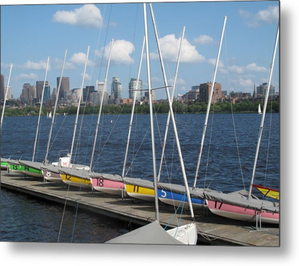 Waiting For Sailors On The Charles Metal Print
