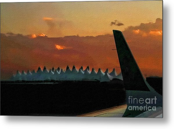 Waiting For Take-off Metal Print by Clare VanderVeen