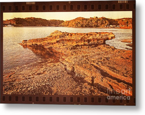 Waiting For The Sun To Set By The Sea Metal Print