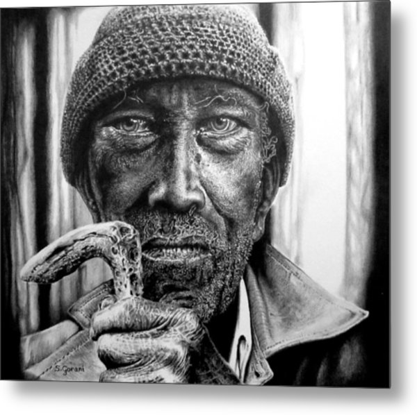Man With Cane Metal Print
